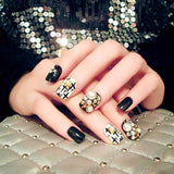 trendy black color with big pearls pattern false nails for women