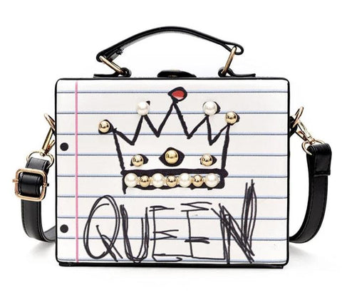 "trendy ""queen"" word with pearl box shape shoulder bag for women"