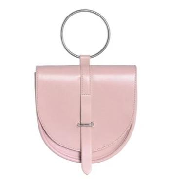 trendy metal round handle leather hand bag for women