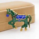 cute colorful enamel horse shaped brooch pin for women