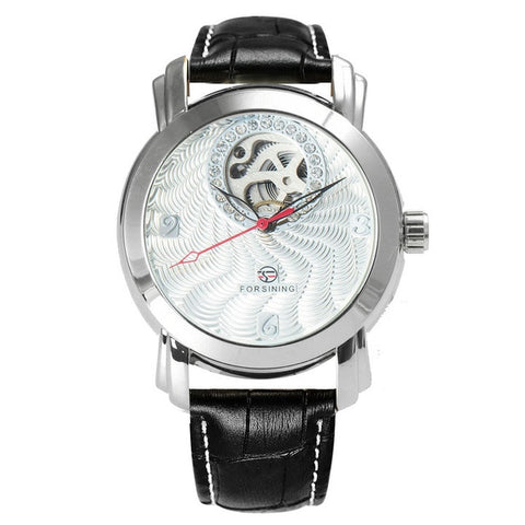 luxury crystal paved crystal mechanical wrist watch for men
