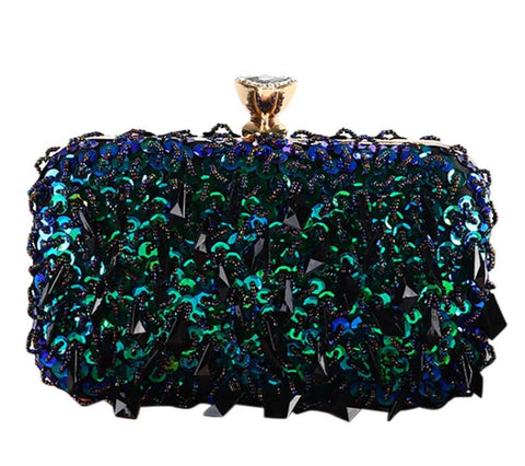 elegant beaded sequins clutch evening shoulder bag for women