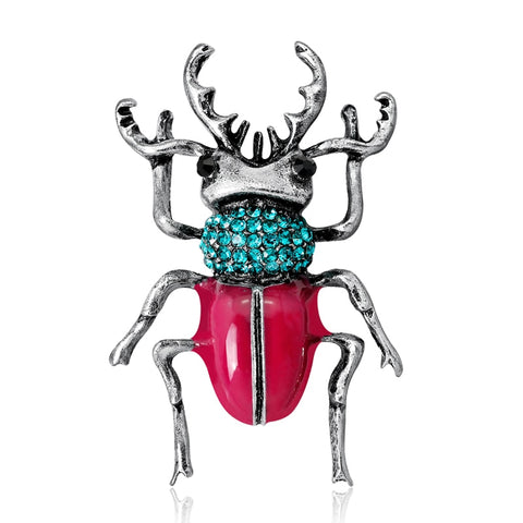 cute crystal beetle shaped brooch pin for women