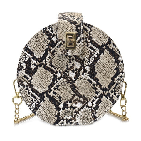 elegant snake skin pattern leather round shoulder bag for women