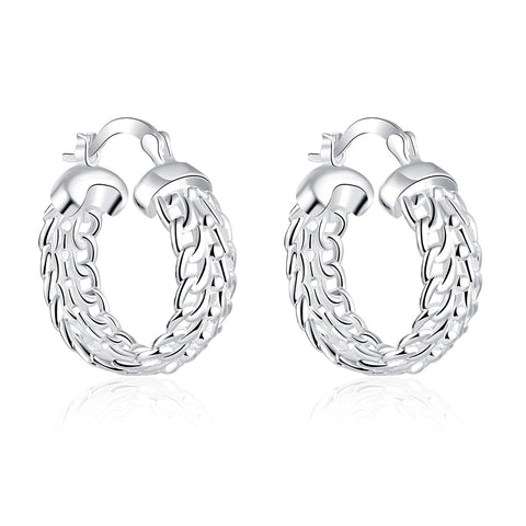 trendy silver color chain circle shape hoop earrings for woman