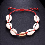 bohemian sea shell conch charm anklet for women