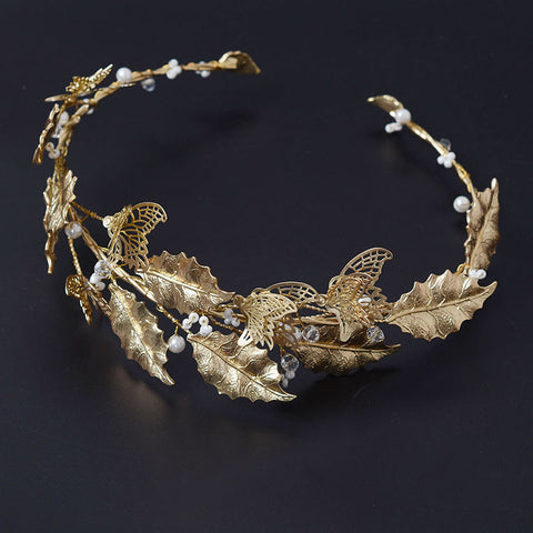 elegant golden leaves with pearls vine hair band tiara for women