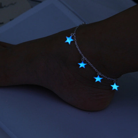 trendy glow in the dark five pointed star tassel anklet for women