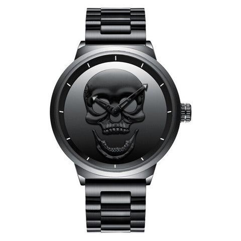 cool skull shaped dial steel mesh band quartz wrist watch for men