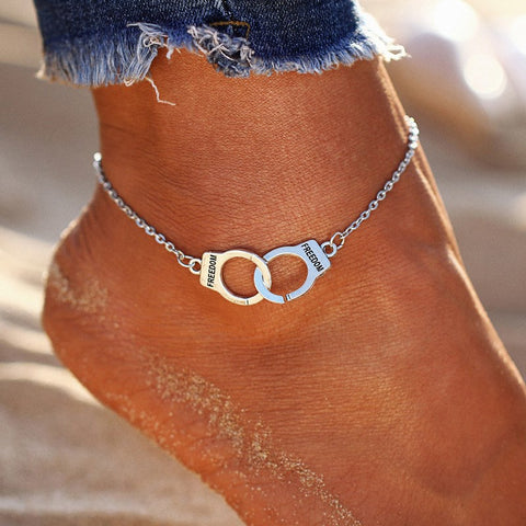 trendy silver color handcuffs charm anklet for women