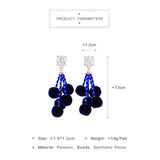 cute blue acrylic beads pom pom earrings drop earrings for women