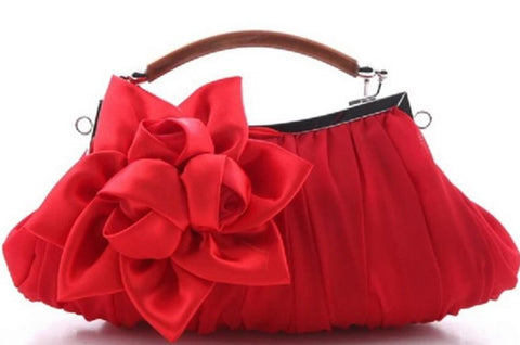 romantic silk flower charm shaped evening hand bag for women