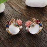 romantic round shell with beaded flower stud earrings for women