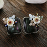 romantic silver plated square & shell flower stud earrings for women