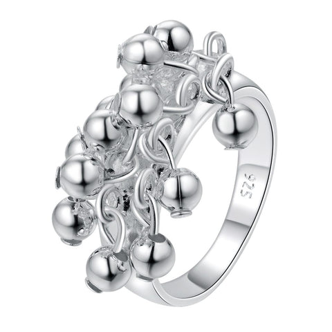 silver plated with ball charms ring for women