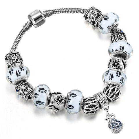 white glass paw prints beads pendant bracelet for women