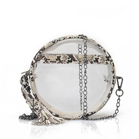 trendy snake print transparent shoulder bag for women