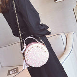 romantic lace flowers & tassel round tote hand bag for women