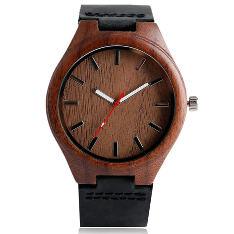 trendy simple design wooden dial genuine leather wrist watch