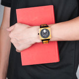 trendy square wooden dial quartz wrist watch for men