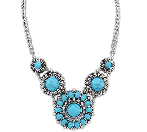 bohemia statement flower beads pendant necklace