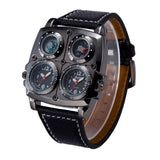 cool leather strap compass 2 time zone dial wrist watch for men