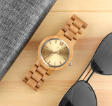 elegant wooden case & band minimal pattern dial watch
