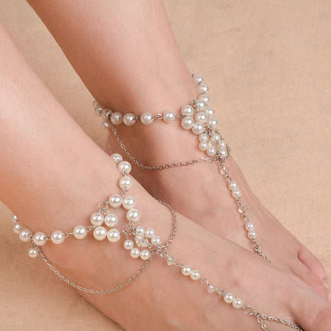 multi layer pearl anklet for women