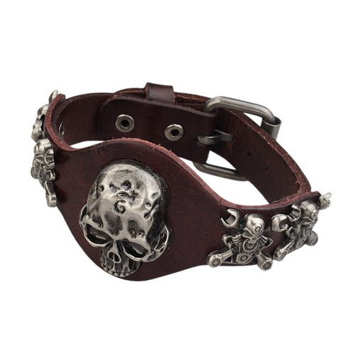 punk style genuine leather skull bracelet