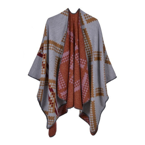 casual geometric print long thick poncho scarf for women
