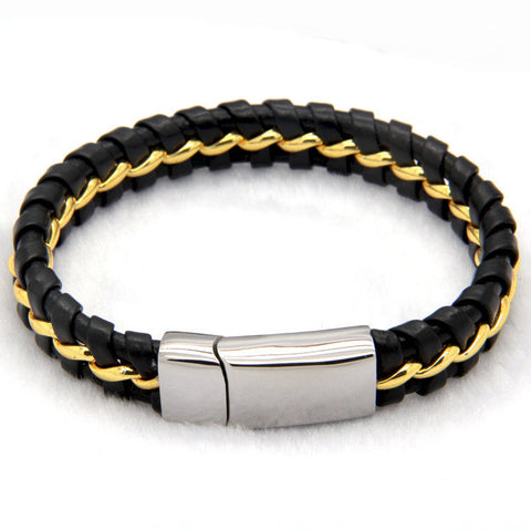black leather knitted magnetic clasp bracelet - very-popular-jewelry.com