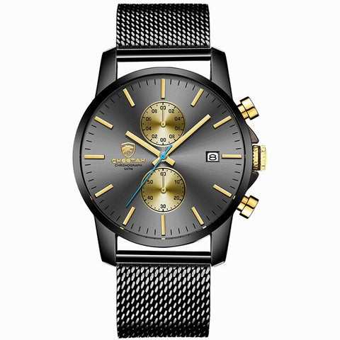 elegant chronograph dial leather band quartz wrist watch for men
