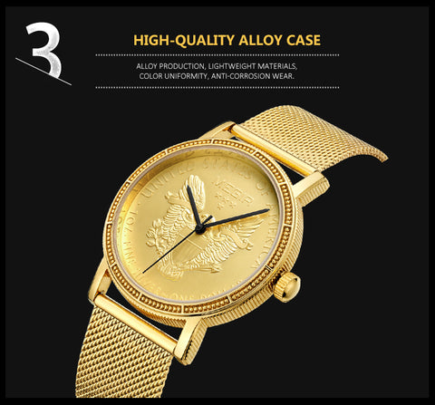 elegant golden coin shaped dial steel mesh wrist watch for men