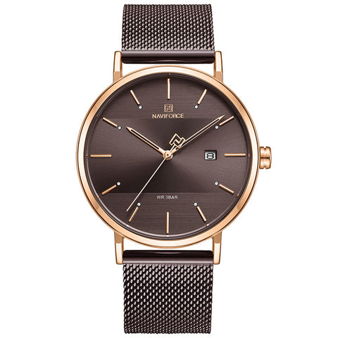 elegant round dial steel mesh band wrist watch for men