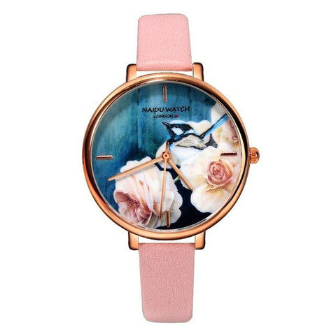 romantic flower pattern dial thin leather band quartz watch
