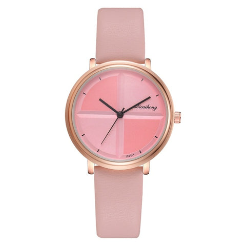 elegant minimal dial design leather band wrist watch for women