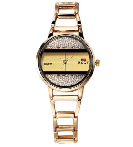 trendy crystal beads dial hollow steel wrist watch for women