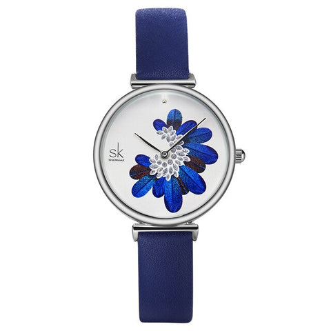 casual blue feather pattern dial wrist watch for women