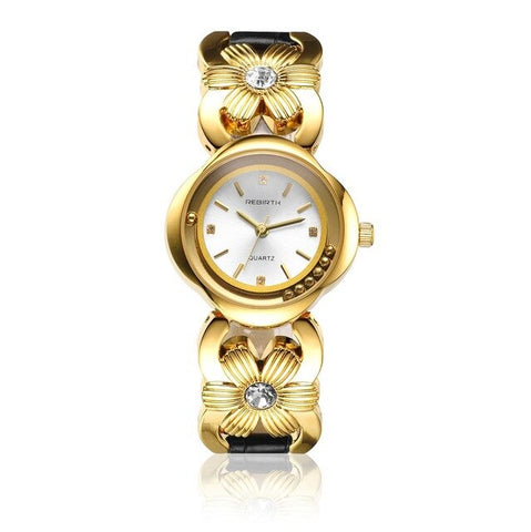 elegant shell shape stainless steel band wrist watch for women