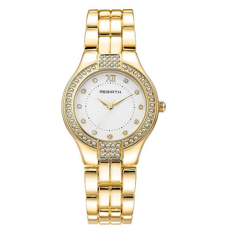 elegant crystal dial stainless steel wrist watch for women