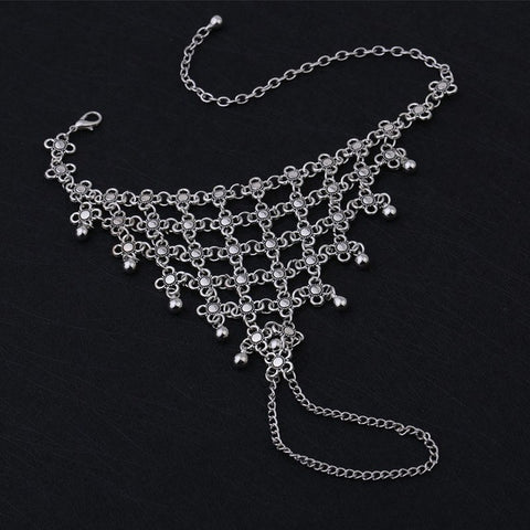 bohemian silver color metal net chain link anklet for women