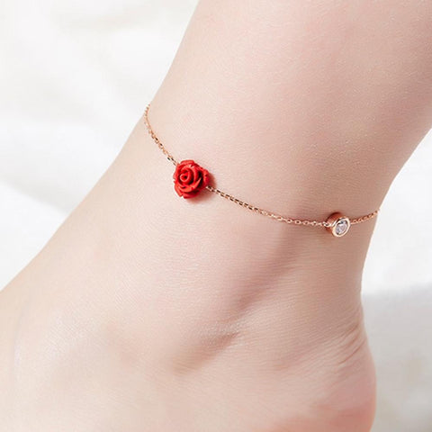 romantic crystal & red flower charm thin chain anklet for women