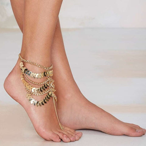 gypsy multilayer gold color coin tassel anklet for women