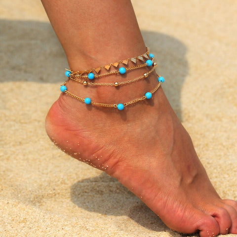 bohemian blue beads multilayer chain anklet for women