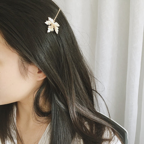 trendy gold/silver color metal maple leaf hair pin for women