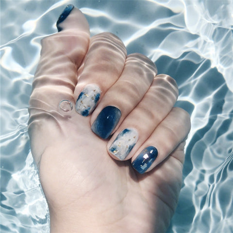 24 pcs trendy sea blue color false nails for women