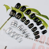 24 pc trendy black & gold stripe glitter pattern false nails for women