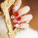 24 pcs luxury shiny wine red crystal drops pattern false nails for women