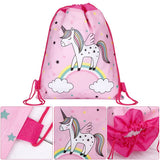 cute unicorn printing drawstring backpack bag for women