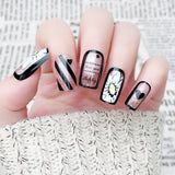 24 pcs black & white clear pattern false nails for women
